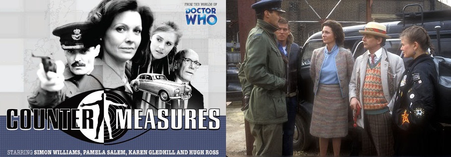 Counter Measures poster and still from Remembrance of the Daleks featuring Pamela Salem and Simon Williams