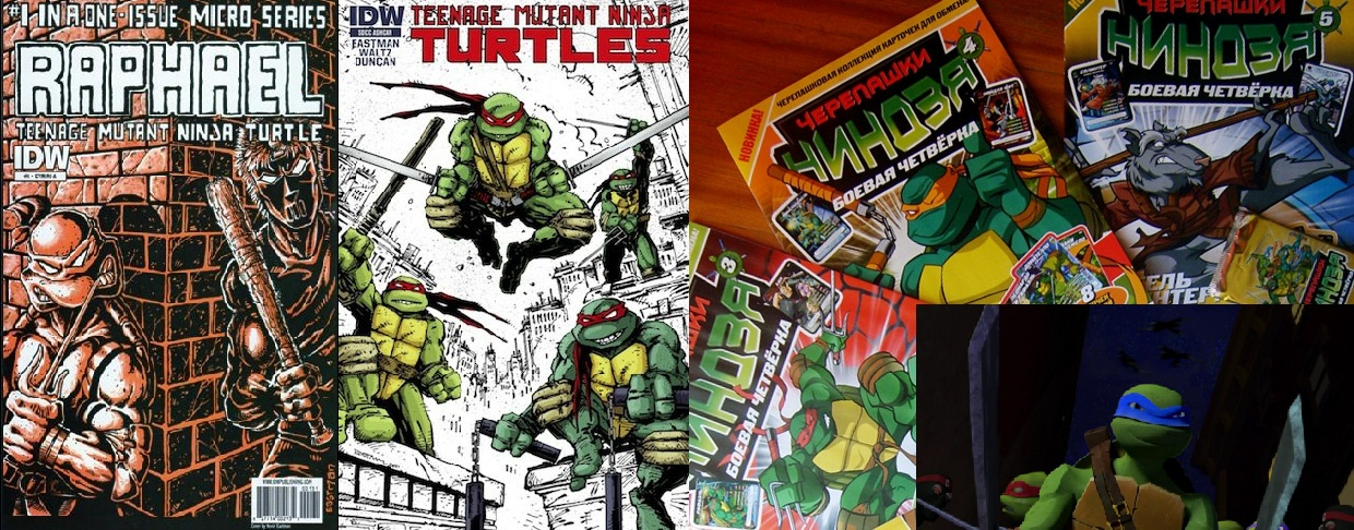 Covers of IDW TMNT comics / Covers of Russian TMNT comics / Still from new Nickelodeon animated series