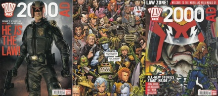 Covers of 2000AD progs 1799 and 1800 featuring a promotional image from Dredd and art by Chris Weston and Simon Bisley