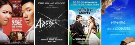 Posters for The Bounty, Argo (film within the film), The Wedding Party, The Sessions