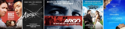 Poster for The Bounty, Argo (film within a film + actual), The Wedding Party, The Sessions