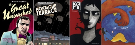Covers of The Great Unwashed and Montague Avenue by Gary and Warren Pleece / Kari and Adi Parva by Amruta Patil