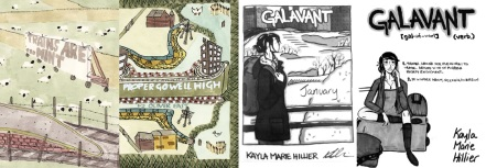 Covers of Trains are... mint and Proper go well high by Oliver East / Galavant: January and collected edition by Kayla Hiller