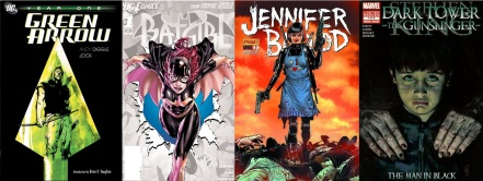 Covers of Green Arrow by Andy Diggle, Batgirl by Gail Simone, Jennifer Blood by Al Ewing and The Dark Tower by Robin Furth