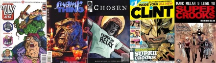 Covers of 2000AD Prog 842, Swamp Thing #159, American Jesus: Chosen #1, CLiNT vol. 2 #1, Super Crooks #1