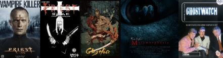 Poster for Priest 3D, art from Priest and Ghostface by Min-Woo Hyung, poster for Metamorphosis, cover of Ghostwatch