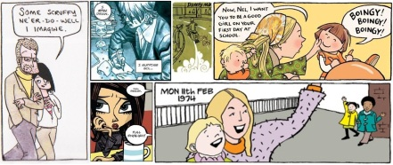 Panels from Nelson by Dan Berry, Duncan Fegredo, Rob Davis, Sarah McIntyre, Jonathan Edwards and Suzy Varty
