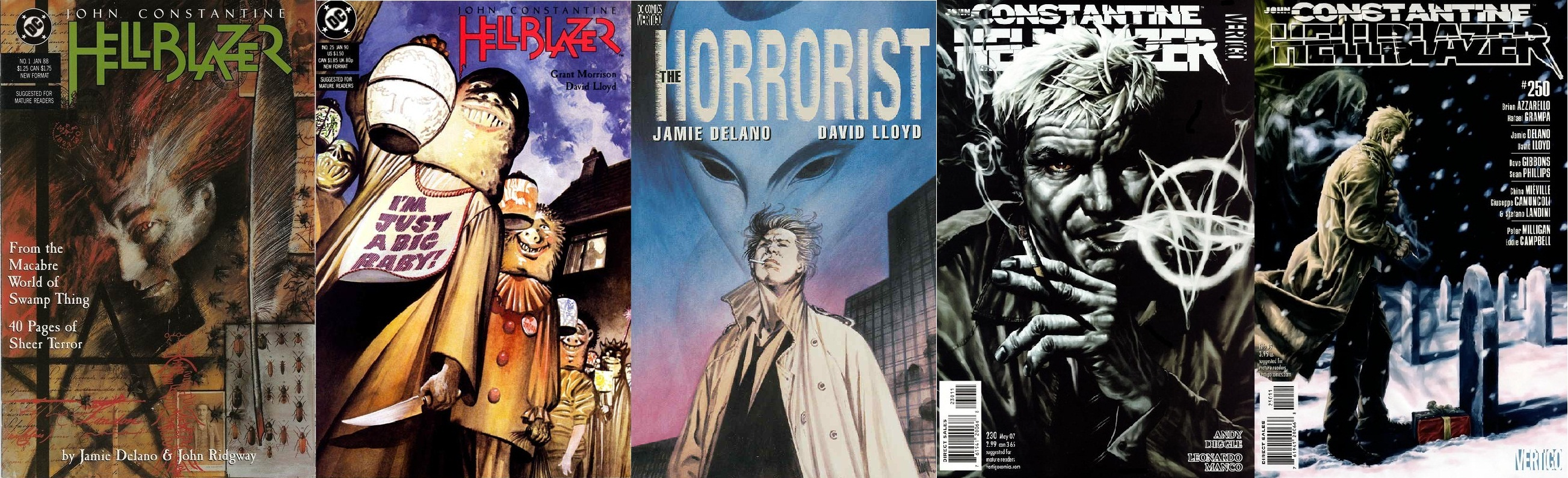 Hellblazer comics by Jamie Delano, David Lloyd, Andy Diggle and Peter Milligan