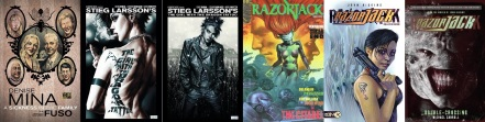 Covers of A Sickness in the family, The Girl with the Dragon Tattoo parts 1 and 2 by Denise Mina et al., Razorjack issue 1 and Com.X collected edition by John Higgins, Double-Crossing novel by Michael Carroll