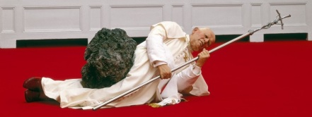 La Nona Ora (Pope struck by a Meteorite) - sculpture by Maurizio Cattelan