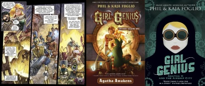 Interior art and cover of Girl Genius omnibus / cover of Agatha H volume 1
