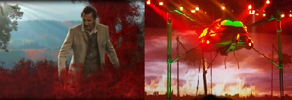 Liam Neeson in the music video for Forever Autumn / photo of The War of the Worlds concert by Ken Harrison