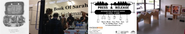 page from The Book of Sarah by Sarah Lightman / exhibition launch / Press and Release flyer / photo of gallery