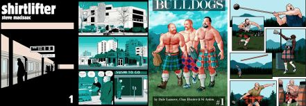 Cover and interior art from Shirtlifter by Steve MacIsaac / Cover and interior art from Bulldogs, illustrated by Chas Hunter and Si Arden