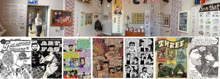 Photo of David Shenton: Those Foolish things exhibition at Space Station Sixty Five / Various comics by Sina Sparrow