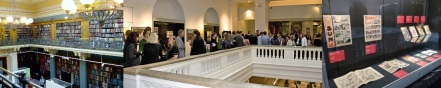 The National Art Library in the Victoria and Albert Museum / attendees at the Illustration Awards / display case from On Eagles Wings exhibition