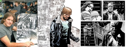 Charlie Adlard signs art from The Walking Dead 106 / alternative cover for the issue / interior art