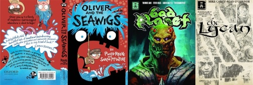 Covers of Oliver and the Seawigs, Bad Planet volume one and The Lycan