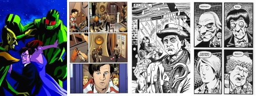 Doctor Who comics by artists Adrian Salmon, Mark Buckingham, and writers Andrew Cartmel and Scott Gray