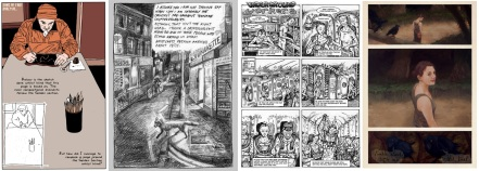 Pages of comics by Al Davison, Hannah Eaton, Vicky Stonebridge, James E Snelling
