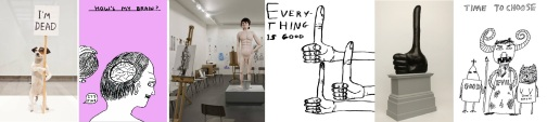 Sculptures and cartoons by David Shrigley
