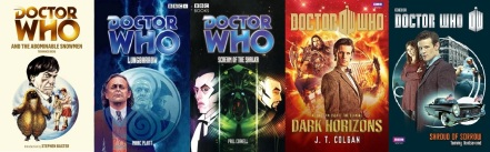 Covers of Doctor Who novels by Terrance Dicks, Mark Platt, Paul Cornell, Jenny Colgan and Tommy Donbavand