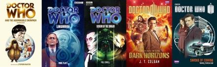 Covers of Doctor Who novels by Terrance Dicks, Mark Platt, Paul Cornell, Jenny Colgan and Tommy Donbavand