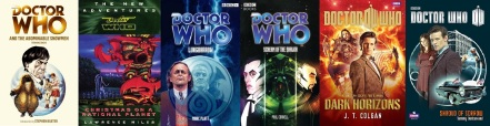 Covers of Doctor Who Novels by Terrance Dicks, Lawrence Miles, Marc Platt, Paul Cornell, J.T. Colgan and Tommy Donbavand