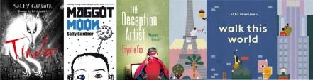 Covers of books by Sally Gardner, Fayette Fox and Lotta Niemenen