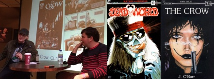 James O Barr in conversation with Alex Fitch (inset, art from The Crow: Curare) / covers of Dead World 10 and The Crow no.1 by O Barr