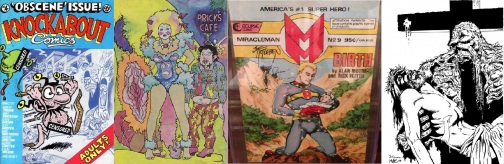 Knockabout Comics #4, Fresca Zizi by Melinda Gebbie, Miracleman #9, Swamp Thing sketch by Rick Veitch