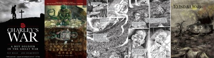 Covers of Charleys War omnibus and Above the dreamless dead / interior art from Dead Mans Dump / cover of To end all Wars