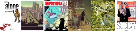 Cover, interior art and serialised cover of Alone (Seuls) / covers of Green Manor and Beautiful Darkness written by Fabien Vehlmann / cover of Soda drawn by Bruno Gazzotti
