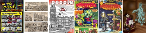 The Zoom no.10, 1914 Day by Day extract,  Haringey People cover by Zoom Rockman / Funny Monsters Comic no.1 and 2, A Christmas Carol by Joe Matthews