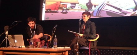 Owen Michael Johnson and Lizzie Boyle in discussion at LICAF (photo by Alex Fitch)