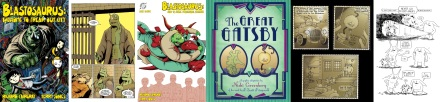 Covers and interior art from Blastosaurus by Richard Fairgray / Cover and interior art from The Great Gatsby and zombie comic by Nicki Greenberg