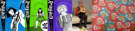 Issues 3 - 5 of Girl Frenzy, Erica Smith holds GF annual (photo by Sarah McIntyre), anti-UKIP beer mats designed by Smith