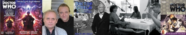 Cover of The Third Doctor Adventures / Syvlester McCoy and Tim Treloar / Cover of Doctor Omega / Behind the scenes and cover of Doctor Who: Planet of Giants