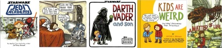 Covers and interior art from various books by Jeffrey Brown including Jedi Academy