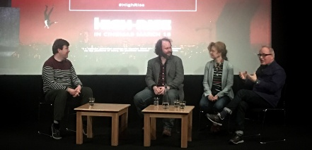Alex Fitch talks to Dan Martin, Odile Dicks-Mireaux and Mark Tildesley on stage at the British Library after a screening of High Rise