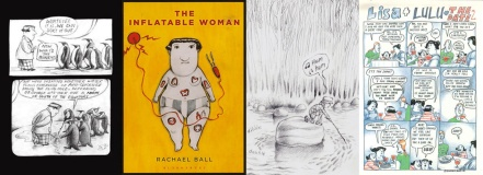 Interior art and cover of The Inflatable Woman, Wolf Man and Lisa + Lulu by Rachael Ball