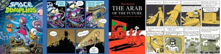 Cover and interior art from Space Dumplings by Craig Thompson, and The Arab of the Future by Riad Sattouf