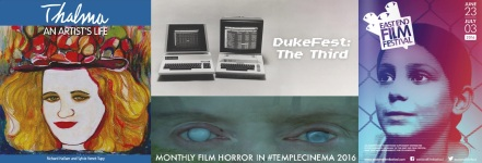 Cover of Thalma, An Artists Life by Richard Hallam and Sylvie Venet-Tupy / posters for Duke Fest, Temple Cinema and EEFF