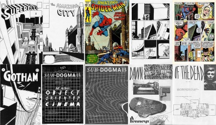 Covers of City Strips 2, 4 and 5 / comparison with Amazing Spider-Man #95 / poster, cover and interior of Sub Dogma 13 #3
