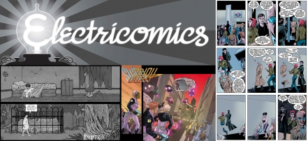 Anti-clockwise from top left: Electricomics logo, extracts from Big Nemo by Alan Moore and Coleen Doran, Sway by Leah Moore, John Reppion and Nicola Scott, The League of Extraordinary Gentlemen: Century by Alan Moore and Kevin O Neill