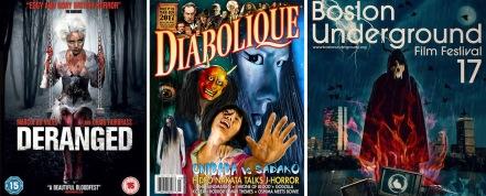 Deranged DVD cover / Diabolique magazine Summer 2017 / Boston Underground film festival poster
