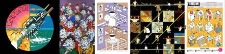 Wish you were here sticker / Mr Feed em menu / The Same Difference print / Word Salad album / Varoom! art by George Hardie