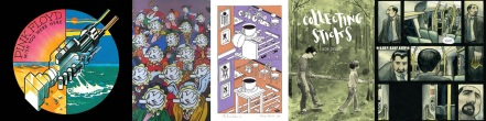 Comic style art by George Hardie / Cover of Collecting Sticks by Joe Decie / Interior art from Adamtine by Hannah Berry