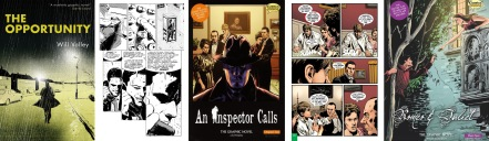 Covers and interior art from The Opportunity, An Inspector Calls and Romeo and Juliet by Will Volley