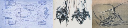 Original designs by Patrick Tatopoulos for Batman v Superman - Dawn of Justice, Independence Day, Riddick